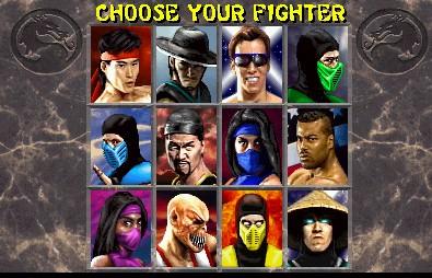 Mortal Kombat II Characters Select Screen