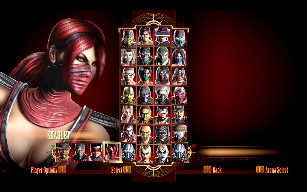 Mortal Kombat 9 Characters select screen