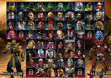 Mortal Kombat armageddon Characters Select Screen